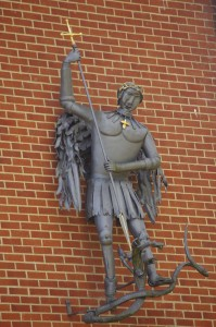 statue of St Michael and the devil